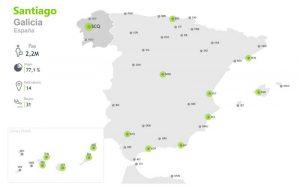 mapa destinos aeropuerto santiago